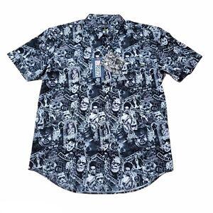 Universal Monsters X RSVLTS Kunuflex Button Down Shirt Lrg Frankenstein Wolfman