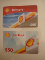 Shell $50 Used Collectible Gift Cards (2), NO VALUE