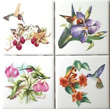 "Hummingbird Bird set of 4 Ceramic Tiles 4.25"" x 4.25"" Kiln Fired Decor"