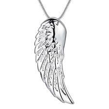 925 Silber pl. Schutzengel Anhänger Engel Flügel Amulett Glücksbringer Feder NEU