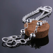 Promotion Price 925Sterling Silver Many Circles Women Chain Necklace  GN643