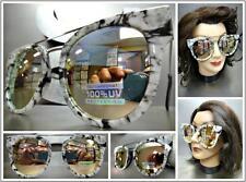 OVERSIZED RETRO Style Black White Marble & Silver SUN GLASSES Pink Mirror Lens