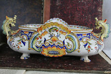 Gorgeous antique french ROUEN faience planter jardiniere dragons 1920 marked