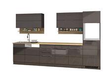 Küchenzeile ohne Geräte Einbauküche ohne Elektrogeräte 330 cm hochglanz grau