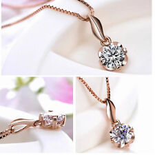 18K ROSE GOLD PLATED CRYSTAL NECKLACE SOLITAIRE VALENTINES GIFT