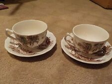 "2 VINTAGE 'THE OLD MILL"" by JOHNSON BROS - ENGLAND TEA / COFFEE CUPS & SAUCERS"
