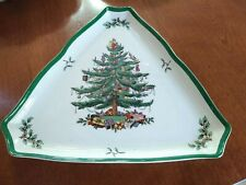 "Vintage Spode Christmas Tree Triangular Serving Platter Tray 11"" each side"