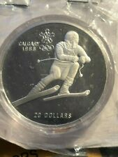 1985 CANADA $20 PROOF COIN - CALGARY 1988 WINTER OLYMPICS DOWNHILL SKIER