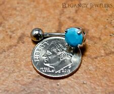 316L Surgical Steel 14GA Natural Turquoise Stone Belly Navel Ring