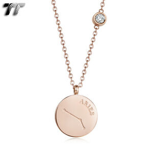 TT Rose Gold S.Steel Aries Constellation Pendant Necklace (NP378) NEW