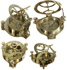 "NEW 4"" Sundial Compass Solid Brass Sun Dial Fully Functional Nautical Home Decor"