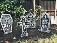 SET OF 4 Tombstones Gravestone Outdoor Halloween Decoration Prop Cemetery Haunt