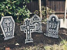 4 x Tombstones 55cm Gravestone Outdoor Halloween Decoration Prop Graveyard