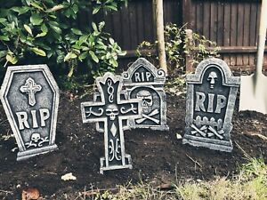 4 x Tombstones 42cm Gravestone Outdoor Halloween Decoration Prop Graveyard