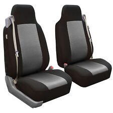 Seat Covers Front Pair for Built-in Seat Belt Seats Gray Black Car Auto