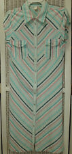 "Vintage 1980s Seersucker Striped Summer Dress Size S 33"" / 84 cm Bust Pearl Snap"