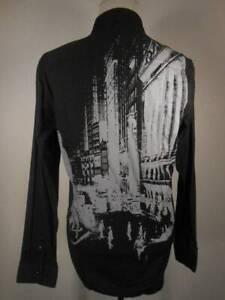 Beautiful Men's Large 7 Diamonds Black w/ City Design Textured Stripe LS Shirt