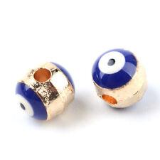 100pcs Creative Alloy Enamel Metal Beads Rondelle Evil Eye Loose Spacers 6.5x6mm