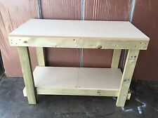 4FT WOODEN WORK BENCH -HAND MADE IN UK- MDF TOP *** CHEAPEST ON EBAY ***