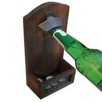 Vintage Wall Mounted Wood Bottle Openers Retro Beer Wall Bottle Opener Catcher