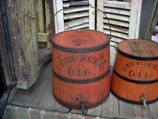 Antique Primitive KEROSENE OIL Painted Bucket Firkin IMPERVIOUS Oil Can KEENE,NH