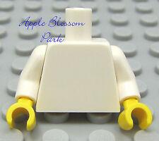 NEW Lego Girl/Boy Minifig Plain WHITE TORSO - Blank Body Upper w/Yellow Hands