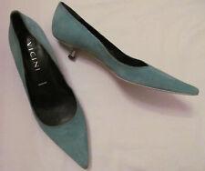 VICINI sea foam green suede with silver metal kitten heel pointy toe shoes 36  *