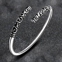 Fashion Women 925 Solid Silver Hoop Sculpture Cuff Bracelet Bangle Jewelry Gift