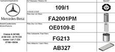109/1 KIT 4 FILTRI TAGLIANDO MERCEDES BENZ CLASSE A W168 A170 CDI KW 70 CV 95