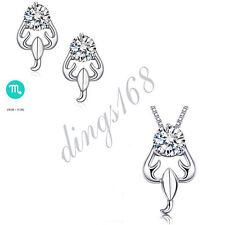 3pc 925 Sterling Silver Scorpio Zodiac Sign Crystal Pendant + Earrings Set S135