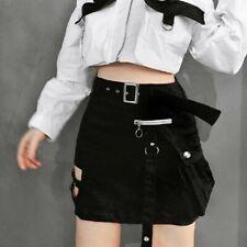 Woman A-Line Punk Skirt Black Pocket Zipper Hollow Out Belt Slim Mini Skirt