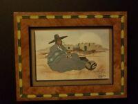 """John A White - Watercolor 9"""" x 7""""  Native American Art"""