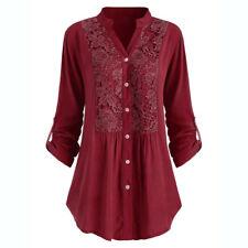 Women Ladies Button Lace V Neck Long Sleeve Shirt Plus Size Tunic Tops Blouse CA