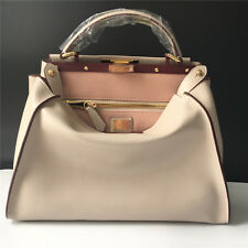 33cm Pearl Gray/ Pink - Genuine Leather Shopper Tote Handbag Top Handle Satchel