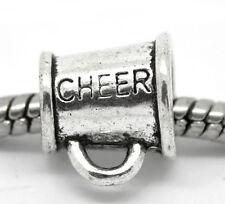 Cheerleader Cheer Megaphone Mom Sports Bead fits Silver European Charm Bracelets