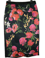LAURA ASHLEY |  Fully Lined Pencil Skirt | Rear Split | Floral Roses |  Size 10