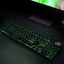 New Computer Desktop Gaming Keyboard Mechanical Light Up Led Backlit Wired USB