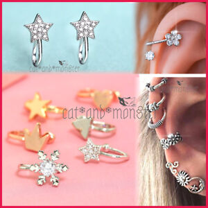 Crystal Flower Star Cross Nose Ring Ear Cuff Cartilage Clip On Hoop No Piercing
