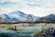 SIGNED EARLY WHITEFACE MTN GOLF COURSE WATERCOLOR~LOCKWOOD~LAKE PLACID NEW YORK