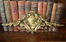 Antique French Bronze Ormolu Pediment Leaves and Berry Swags