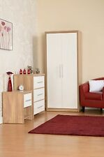 Seconique Seville Bedroom Range Oak White High Gloss Wardrobe Drawers Bedside