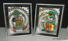 2 Silk Screen Circus Clown Desk Top or Wall Mount Pictures