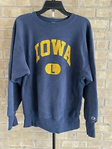 Vintage Iowa University Champion Reverse Weave Crewneck Sweatshirt Navy Blue L