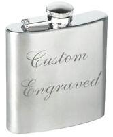 Custom Engraved / personalised 6oz steel Hip flask in velvet gift pouch