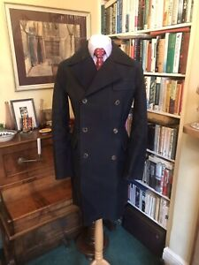 Gieves & Hawkes Navy Rubberised Cotton Double Breasted Driving Coat
