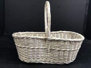 White Basket Figure Eight Shape Woven Wood Handles Fixed Large SZ EC 16.5x8.5x6""