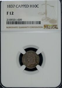 1837 NGC F 12 Capped Bust Silver Half Dime ☆☆ Large 5 LM-1 ☆☆ 009