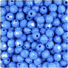 450 Periwinkle Blue Opaque 8mm Faceted Round Plastic Craft Beads Made in the USA