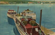 Old Postcard - Tuna Boats at Boothbay Harbor Maine