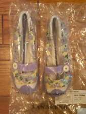 NEW LADIES LANDS END MARY JANE PURPLE FLOWERED CANVAS CASUAL SHOES CUTE SIZE 7